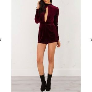 Akira High Neck Cut Out Velvet Velour Romper